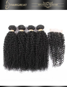 Fairgreat Hair 8A Curly Virgin Hair 4 Bundles With 4*4 Free Part Lace Closure Real Human Hair Extension