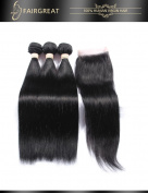 Fairgreat Hair Brazilian Straight Human Hair Extensions With Free Part 4*4 Lace Closure Unprocessed Human Hair