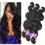 HLSK Hair Brazilian Body Wave Unprocessed Virgin Human Hair Extensions Remy Hair Weave 7A (#1B) 3 Bundles