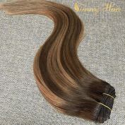 Sunny Dip and Dye Ombre Clip in Human Hair Extension 41cm Remy Full Head Brown to Blonde Remy Clip in Extensions 7pcs 120gram