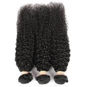 QLOVEHAIR 3 Bundles Virgin Brazilian Human Hair Black Natural Colour Curly Wave Human Hair Weft Weave Extensions