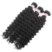 QLOVEHAIR Virgin Brazilian Human Hair Extensions Deep Wave 3 Bundles