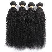 QLOVEHAIR Brazilian Virgin Hair Curly Wave Black Natural Colour Human Hair Extensions 4 Bundles Hair Weave