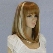 HJL-Women¡¯s New Fashionable and Charming Mix Colour Medium Length Wig with Full Bang