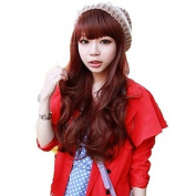 HJL-Capless Side Bang Synthetic Stylish Red Wine Long Wavy Wigs