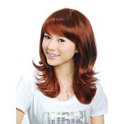 HJL-Capless Medium Length Synthetic Auburn European Weave Hair Wig