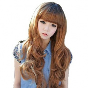 HJL-Fashion Hair Long Wavy Synthetic Full Bang Wigs 5 Colours Available , light brown , average