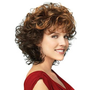 HJL-30cm Women Short Wave Synthetic Hair Wig Ombre Brown