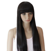 HJL-60cm European Style Long Straight Black Synthetic Wigs Full Bang