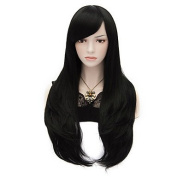 HJL-70cm/27.6inch Long Black Natural Straight Fashion Wigs Women Girl Multi-use Cosplay Synthetic Full Party Wig