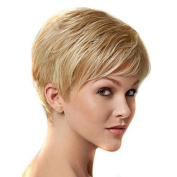 HJL-20cm Women Short Kinky Straight Synthetic Hair Wig Blonde