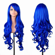 "Kissparts Curly Cosplay Wig Long Hair Spiral Costume Wigs For Women With Wig Cap and Comb Blue 32"" 80cm"