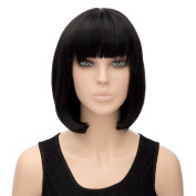 Icoser® Sexy Black Korean Wig Costume Synthetic Hair Vogue Wigs Cosplay and a Wig Cap Black and a Hair Comb