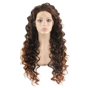 Mxangel Long Curly Lace Front Synthetic Hair Auburn Tip Brown Celebrity Natural Stylish Wig