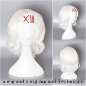 Ezcosplay® Japanese Anime Cosplay Wig Care Tokyo Ghoul Suzuya Juzo Synthetic Hair White Short Wigs Halloween and a Wig Cap