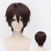 Ezcosplay® Japanese Anime Cosplay Wig Hakuouki Okita Souji Synthetic Hair Brown Short Wigs Halloween and a Wig Cap