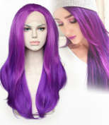 Cbwigs Natural Fashion Purple Colour Heat Resistant Synthetic Hair Lace Front Wigs For Women