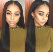 Premier Crown Hair 8A Grade Virgin 100% Brazilian Human Hair Lace Front Wig Silky Straight Hair Wigs 130 Density Natural Colour