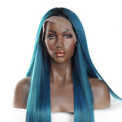 V'Nice® Mixed Blue and Green Synthetic Lace Front Wig Silky Straight Lace Front Synthetic Wigs for Black Women Heat Resistant Synthetic Wigs