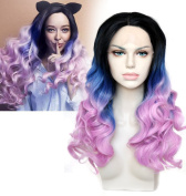 Cbwigs Anime League of Legends LOL Miss Fortune Cosplay Wig Black blue Pink colourful ombre synthetic hair peruca Front Lace Wig