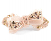 RIBBON CHRYSE AUSTRIAN RHINESTONE CRYSTAL HAIR CLAMP CLIP BARRETTE C733N NUDE