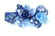 CHRYSE DUAL FLOWER AUSTRIAN RHINESTONE CRYSTAL HAIR CLIP BARRETTE C735B BLUE