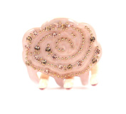 CHRYSE SMALL ROSE AUSTRIAN RHINESTONE HAIR CLAMP CLAW CLIP BARRETTE C737 NUDE