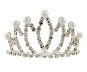 Clear Crystal Tiara Crown Small Bun Sized Synthetic Pearl Silver Tone