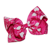 WD2U Girls Large Heart Print GrosGrain Valentines Hair Bow Alligator Clip USA