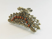 Large Size Vintage Metal Alloy Heart Jaw Claw Hair Clip with Rhinestone and Beads Accents, Bronze