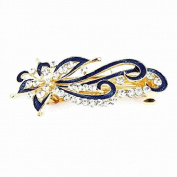 GBSTORE Rhinestone Accent Blue Leaves Design French Hair Clip Barrette for Women