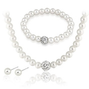 Sunshiny Sunshiny Artificial Freshwater Cultured White Pearl Necklace Earrings Bracelet Jewellery Set