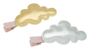 Girls' Cloud Fashion Hair Clips (Glossy Gold & Silver, 2PC Set) | Incredibly Cute, All-Purpose Alligator Beauty Clip | Imported from Korea and Hand-Assembled