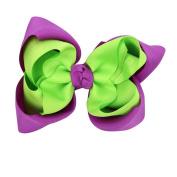 CuteOn Baby Girls Hair Bows Grosgrain Ribbon Bows With Alligator Clips Green & Purple