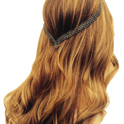 Women's Clip-In Hair Jewellery- Black Crystals