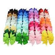 Efivs Arts Baby Girl Hair Clips, 40Pcs Baby Girl Grosgrain Ribbon Boutique Hair Bows For Teens Baby Girls Babies Toddlers