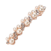 Crystal & 16 Pearl Wedding Barrette Hair Clip Accessory For Bridal Wedding