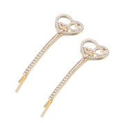 2 Pcs Gold Tone Full Crystal Love Heart Interlock Hair Clips Pins For Women Styling Bridal Wedding