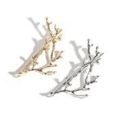 Face Forever 2pcs Metal Hair Clips Imitate Deadwood Antlers Metal Hairpin Silver and Gold