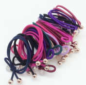 PEPPERLONELY Brand 20 PC 10 Colours Crystal Beads Bowknot Rope Elastic Ponytail Holder Hair Ties, 3mm