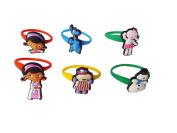 AVIRGO 6 pcs Colourful Releasable Ponytail Holder Elastic Rubber Stretchable No-slip Hair Tie Set # 112 - 7