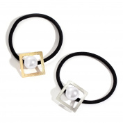 Face Forever 2pcs Square Metal Faux Pearl Elatic Hair Tie Ponytail Hairband Gold and Silver