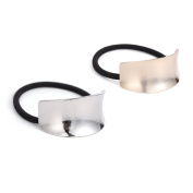 Face Forever Curved Smooth Metal Hairband for Ponytail Hair Tie 2pcs Silver and Gold