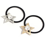 Face Forever 2pcs Star Metal Faux Pearl Elatic Hair Tie Ponytail Hairband Gold and Silver