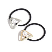 Face Forever 2pcs Triangle Metal Faux Pearl Elastic Hair Tie Ponytail Hairband Gold and Silver