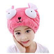 Vimeet Child Microfiber Hair Towel Ultra Absorbent Hat Long Hair Drying Cap Hair Wrap Hair Drying Towel