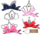 Genda 2Archer 5Pcs/Set Baby Girls Toddlers Kids Rhinestone Crystal Crown Tiara Hair Clip Hair Pins for Birthday Princess Party