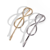 Face Forever 2pcs Basic Infinity Hair Clip Bobby Pin Silver and Gold