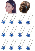 Dozen Pack Hair Sticks with Crystal Flower Ornament 1.1cm in diameter NF83075-1hsflr-Dsapphire