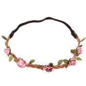 LQZ(TM) Girls Party Hairband Hippie Love Flower Garland Crown Festival Wedding Hair Wreath BOHO Floral Headband